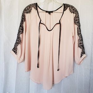 BCX Pink with Black Lace Details